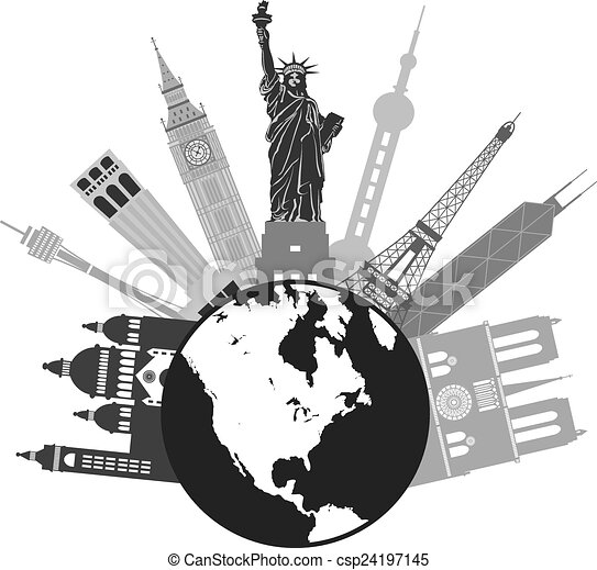 Globe For World Travel Grayscale Illustration