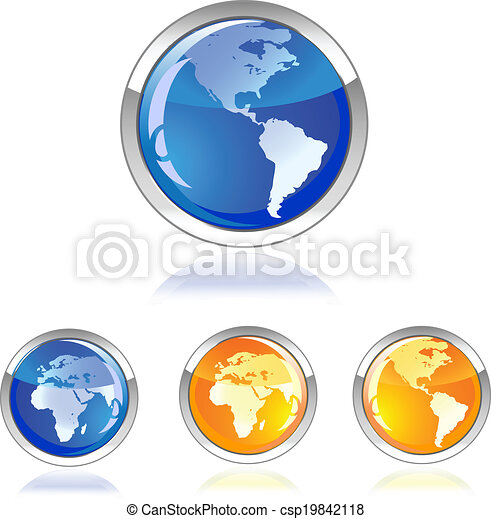 globe glossy icon button - csp19842118
