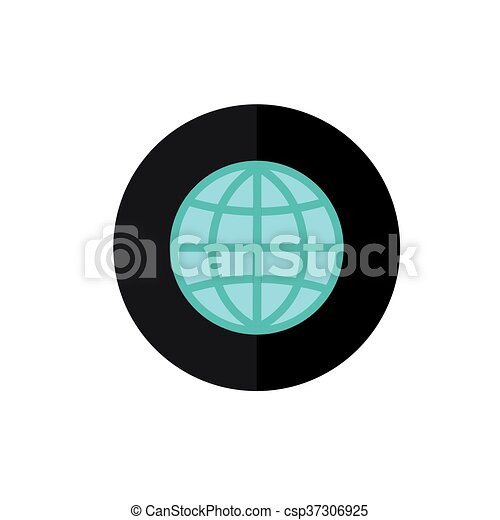 Globe Icon in Circle Frame for Web, App, Internet, Smartphone Interface   Planet earth Symbol Vector Button