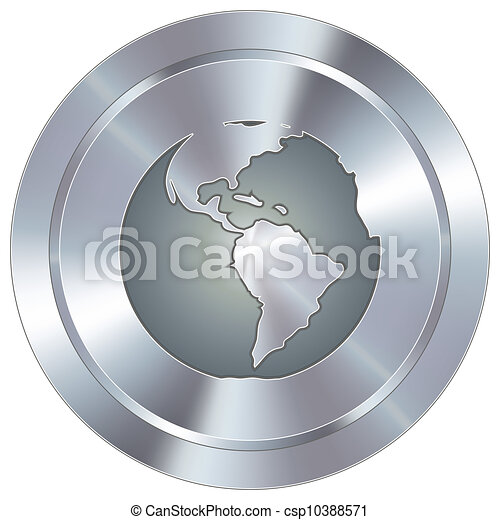 Globe icon on industrial button - csp10388571