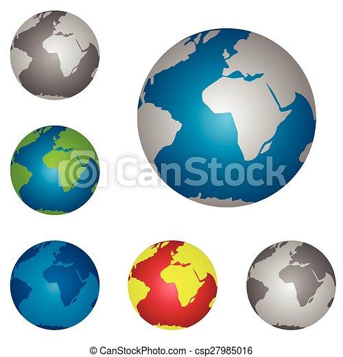 Globe icons world map globe icon set vector illustration globe icons csp27985016 gumiabroncs Gallery