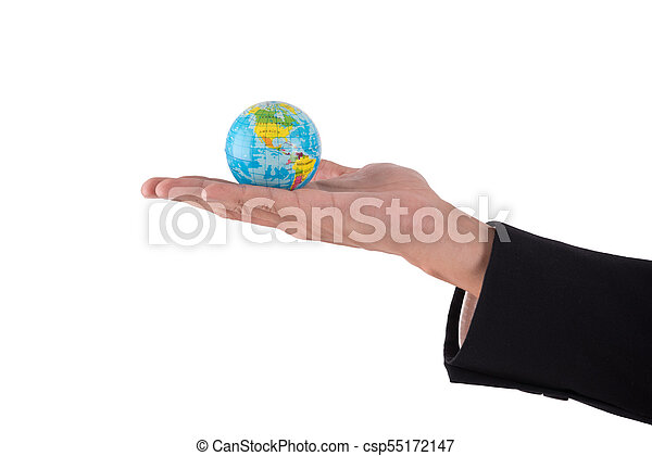 globe in businessman hand isolated on white background - csp55172147