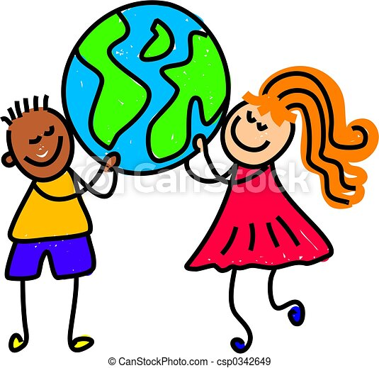 globe kids children from different ethnic backgrounds holding up rh canstockphoto com