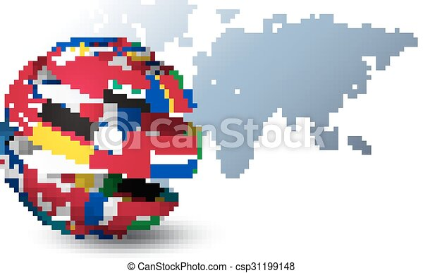 Globe made out of flags on a world map background vector gumiabroncs Images