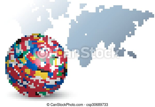 Globe made out of flags on a world map background globe made out of flags on a world map background csp30689733 gumiabroncs Gallery