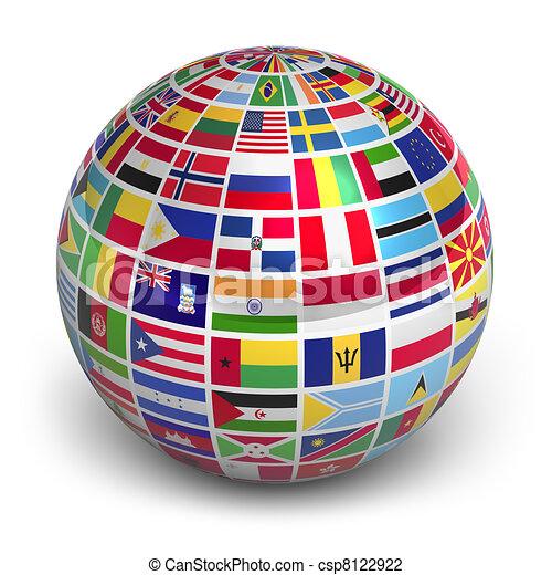 globe mondial, drapeaux - csp8122922
