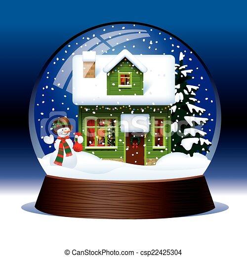 globe, neige - csp22425304