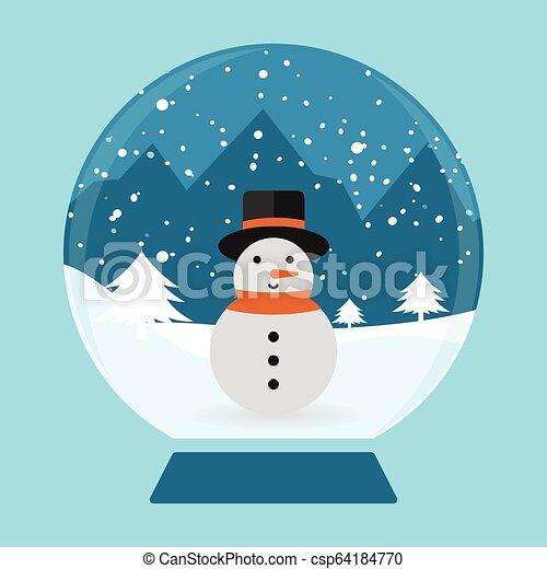 globe, neige - csp64184770