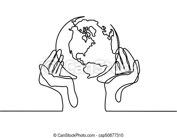 continuous line drawing globe of the earth in human hands map side