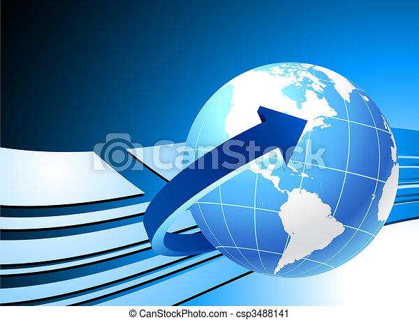 Globe on blue background - csp3488141
