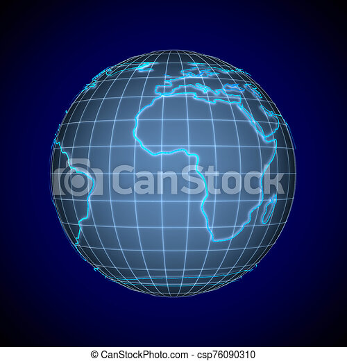 globe on blue background. Isolated 3D illustration - csp76090310
