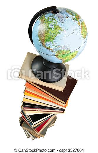 Globe on books - csp13527064