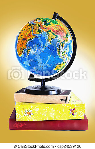 Globe on books - csp24539126