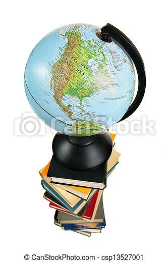 Globe on books - csp13527001