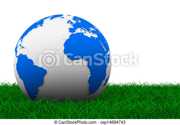 globe on grass. Isolated 3D image - csp14694743