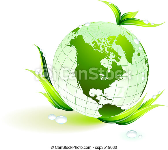 Globe on Green Environmental Conservation Background - csp3519080
