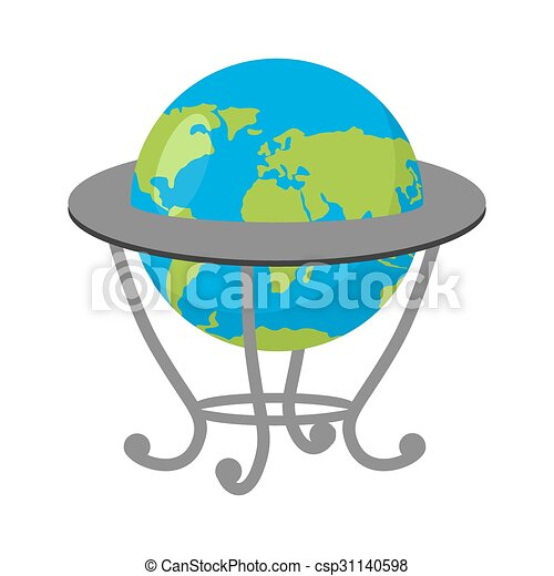 Globe on stand. Model of Earth. School geographical Atlas - csp31140598