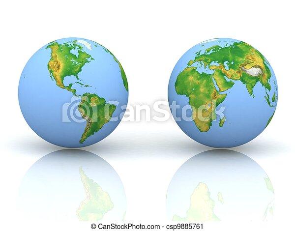 Globe on white backgraund - csp9885761