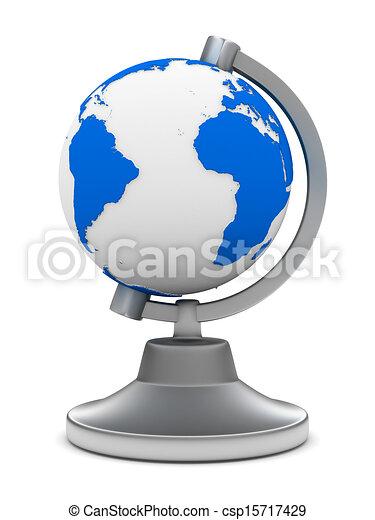 globe on white background. Isolated 3D image - csp15717429