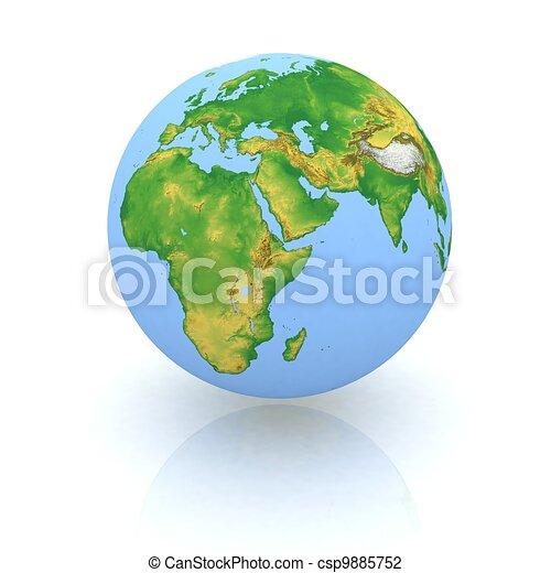 Globe on wight backgraund - csp9885752