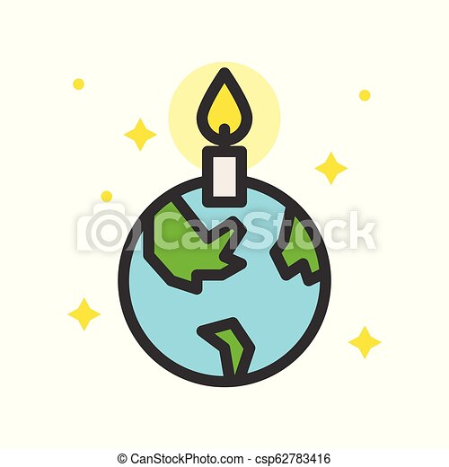 Globe or planet earth icon with candle filled line flat design, pray for world concept - csp62783416