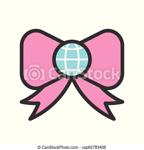Globe or planet earth on bow tie icon, filled line flat design - csp62783406