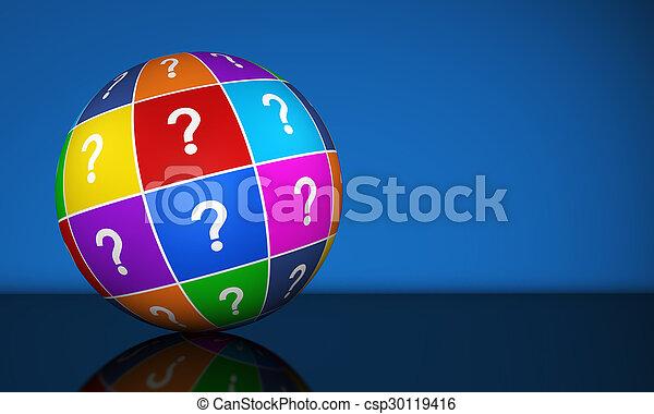 globe, point interrogation - csp30119416