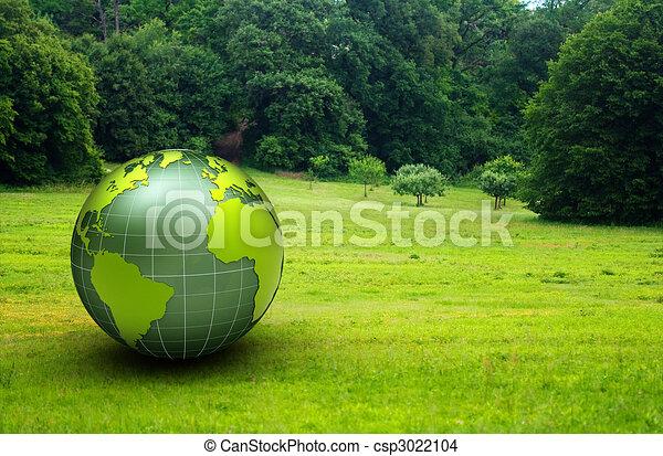 globe, prairie, groene, glanzend, 3d - csp3022104