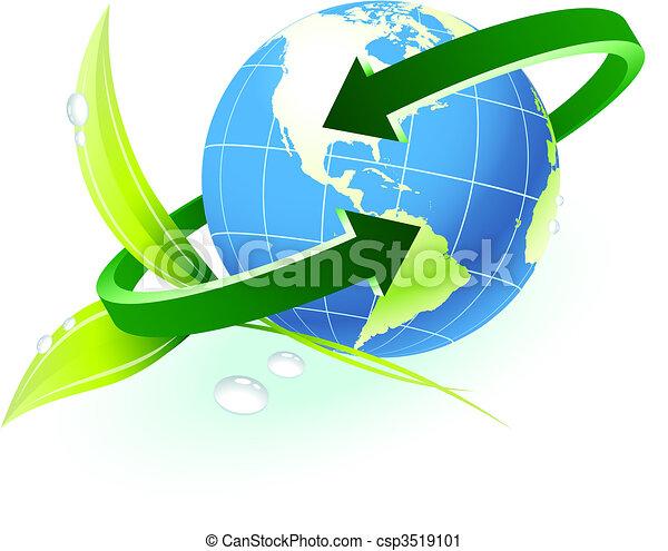 globe, richtingwijzer, achtergrond, natuur - csp3519101
