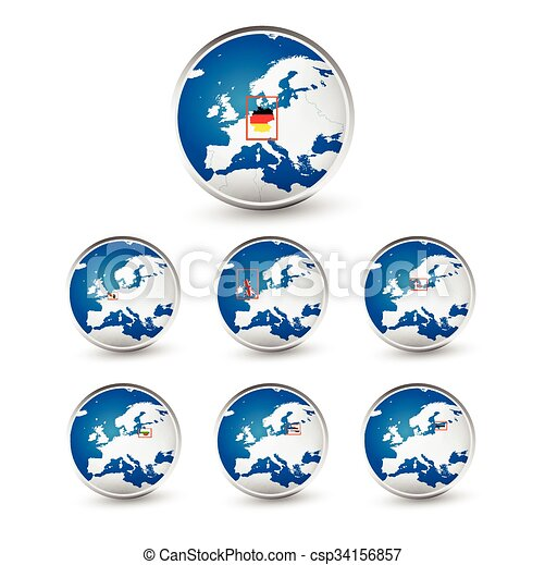 Globe set with EU countries World Map Location Part 2 - csp34156857