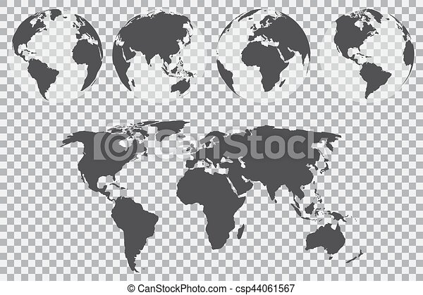 Globe set with world map on a transparent background vector clip globe set with world map on a transparent background vector illustration gumiabroncs Choice Image