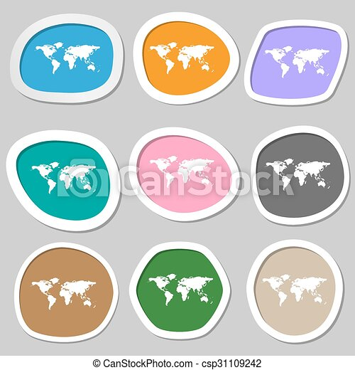 Globe sign icon world map geography symbol multicolored eps world map geography symbol multicolored paper stickers vector gumiabroncs Choice Image