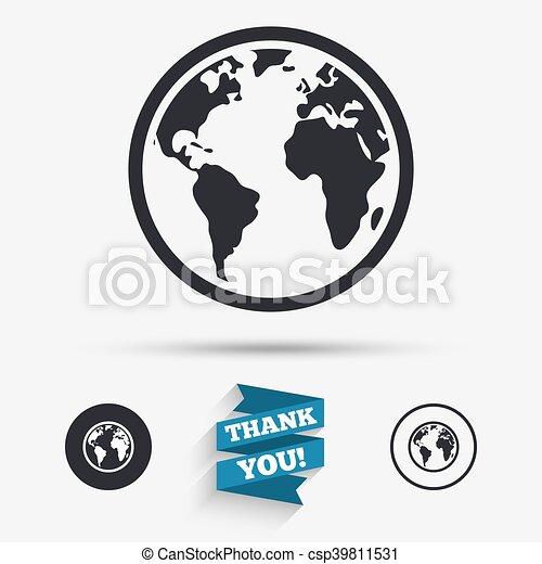 Globe sign icon world map geography symbol flat icons buttons globe sign icon world map geography symbol csp39811531 gumiabroncs Images