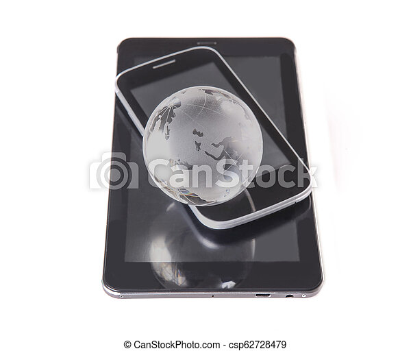 Globe, smartphone, tablet isolated on white - csp62728479