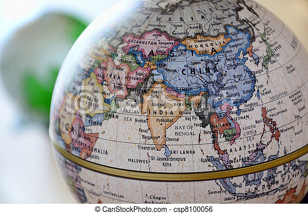 globe south asia a globe is photoed by close up
