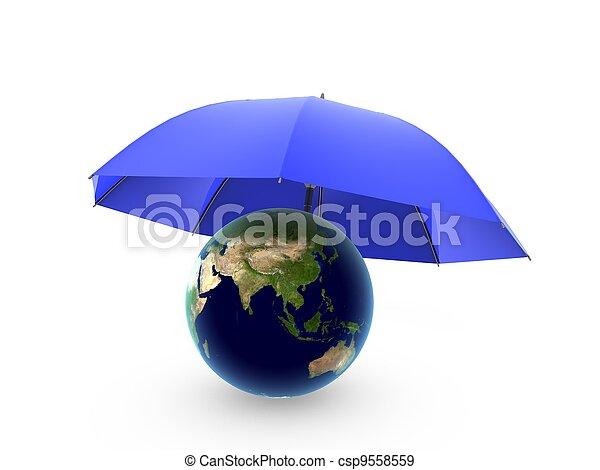 globe under umbrella - csp9558559