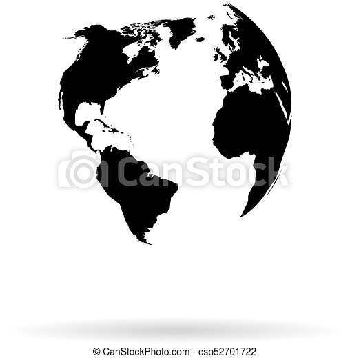 Globe Vector Silhouette World Map Illustration Globe Isolated Set
