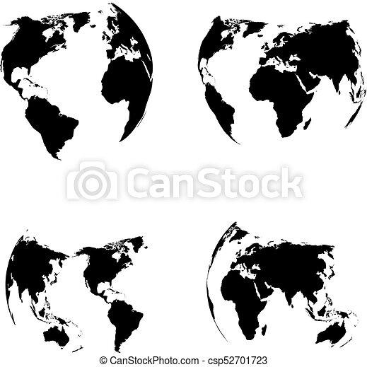 Globe vector silhouette world map illustration globe isolated set globe vector silhouette gumiabroncs Choice Image