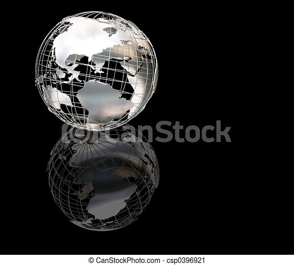 globe, wiireframe, métallique - csp0396921