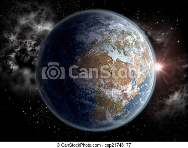 Globe with Africa and Europe - csp21748177