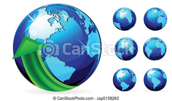 globe with arrows vector illustrati - csp5158263