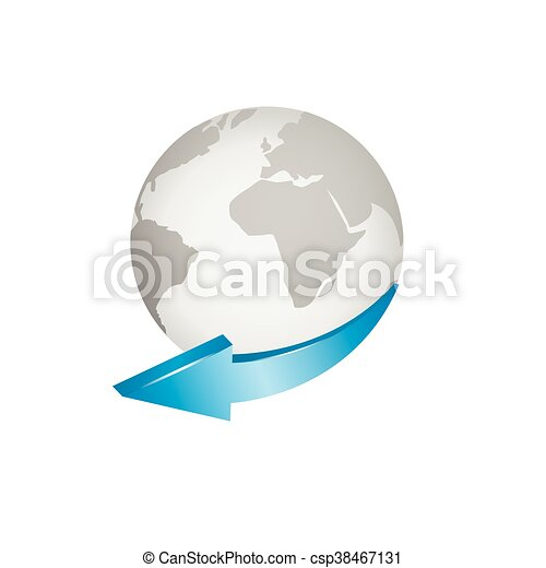 Globe with blue arrow world map around the world vectors globe with blue arrow csp38467131 gumiabroncs Image collections