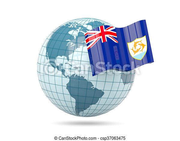 Globe with flag of anguilla - csp37063475
