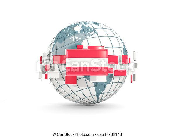 Globe with flag of austria isolated on white - csp47732143