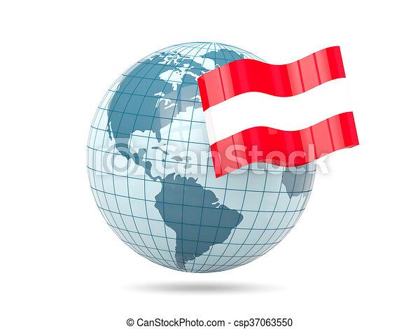 Globe with flag of austria - csp37063550