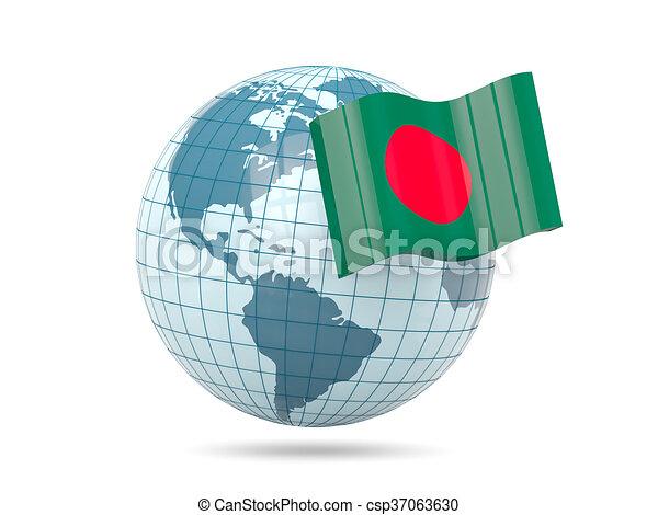 Globe with flag of bangladesh - csp37063630