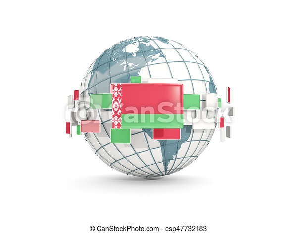 Globe with flag of belarus isolated on white - csp47732183