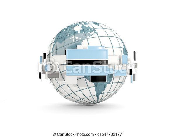 Globe with flag of botswana isolated on white - csp47732177