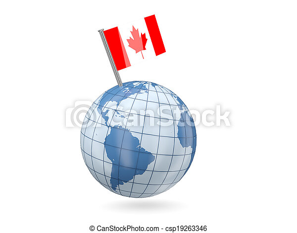 Globe with flag of canada - csp19263346