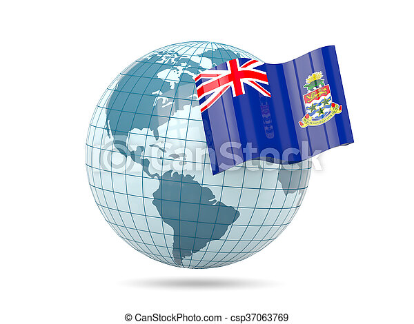 Globe with flag of cayman islands - csp37063769